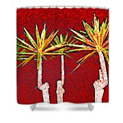 Four Yuccas In Red Shower Curtain