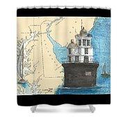 Fourteen Ft Bank Lighthouse De Nautical Chart Map Art Shower Curtain