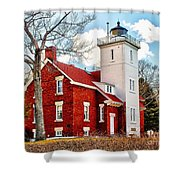 Fourty Mile Point Lighthouse Shower Curtain