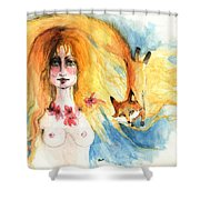 Fox Girl Shower Curtain