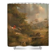 Fox Hunting In Hilly Country Shower Curtain