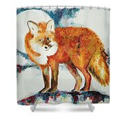 Fox In The Moon Shower Curtain