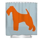 Fox Terrier Orange Shower Curtain by Naxart Studio