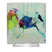 Fox Terrier Watercolor Shower Curtain by Naxart Studio