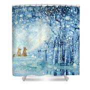 Foxes In The Snow Shower Curtain