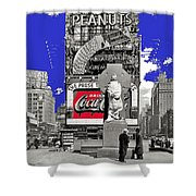 Fr. Duffy Statue Prior To Unveiling Coca Cola Sign Times Square New York City 1937-2014 Shower Curtain