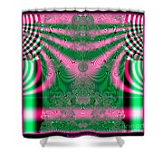 Fractal 34 Kimono In Pink And Green Shower Curtain