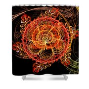 Fractal - Abstract - Mardi Gras Molecule Shower Curtain