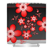 Fractal Cheerful Red Flowers Shower Curtain