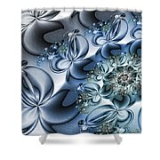 Fractal Dancing The Blues Shower Curtain