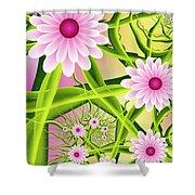 Fractal Fantasy Neon Flower Garden Shower Curtain
