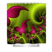 Fractal Fluorescent Fantasy Flowers Shower Curtain