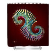 Fractal Feather Spiral Shower Curtain