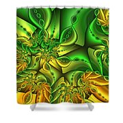 Fractal Gold And Green Together Shower Curtain