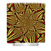 Fractal Golden And Red Shower Curtain