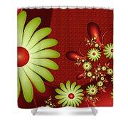 Fractal Happy Flowers 2 Shower Curtain