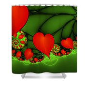 Fractal Hearts In The Discothec Shower Curtain