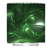 Fractal Living Green Metal Shower Curtain
