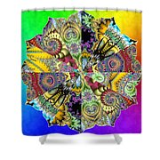 Fractal Lotus Zodiac Shower Curtain