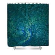 Fractal Marine Blue Shower Curtain