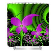 Fractal Neon Fantasy Shower Curtain