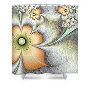 Fractal Nostalgic Flowers Shower Curtain