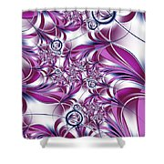 Fractal Pink Plant Shower Curtain