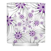 Fractal Purple Flowers Shower Curtain