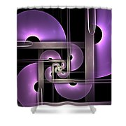 Fractal Purple Semicircles Shower Curtain