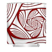 Fractal Red And White Shower Curtain
