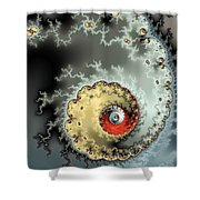 Fractal Spiral Design Grey Khaki Red Shower Curtain