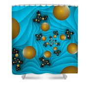 Fractal The Blue Depth Shower Curtain