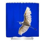 Fractal White Egret Shower Curtain