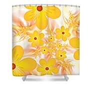 Fractal Yellow Flowers Shower Curtain