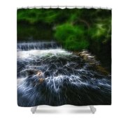 Fractalius - River Wye Waterfall - In Peak District - England Shower Curtain