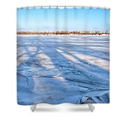 Fractured Ice On The River Shower Curtain