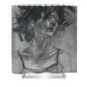 Gathering Strength - Original Charcoal Drawing - Contemporary Impressionist Art Shower Curtain