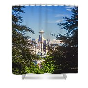 Framed Space Needle Shower Curtain