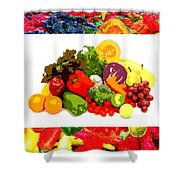 Framed Veggies Shower Curtain