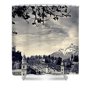 Framed View Of Salzburg From Kapuzinerberg Shower Curtain