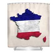 France Map Art With Flag Design Shower Curtain