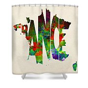 France Typographic Watercolor Map Shower Curtain