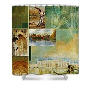France Unesco World Heritage Poster Shower Curtain
