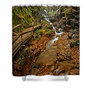 Franconia Notch Lush Greens And Rushing Waters Shower Curtain