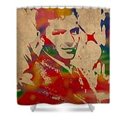 Frank Sinatra Watercolor Portrait On Worn Distressed Canvas Shower Curtain