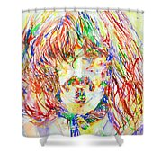 Frank Zappa Watercolor Portrait.1 Shower Curtain