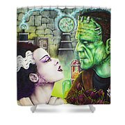 Frankenstein And The Bride Shower Curtain