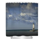 Frankfort Lighthouse On Lake Michigan Shower Curtain