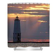 Frankfort North Breakwater Lighthouse Shower Curtain