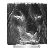 Frankie Lion Negative Shower Curtain